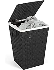 HYNAWIN 90L Bamboo Laundry Hamper Basket Collapsible Storage Clothes Hamper for Bedroom, Bathroom, Living Room, College Dorm (Gray, Rectangle)
