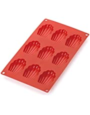 Lekue 0620609R01M022 9 Cavities Madeleines Multi Cavity Baking Mold, Red