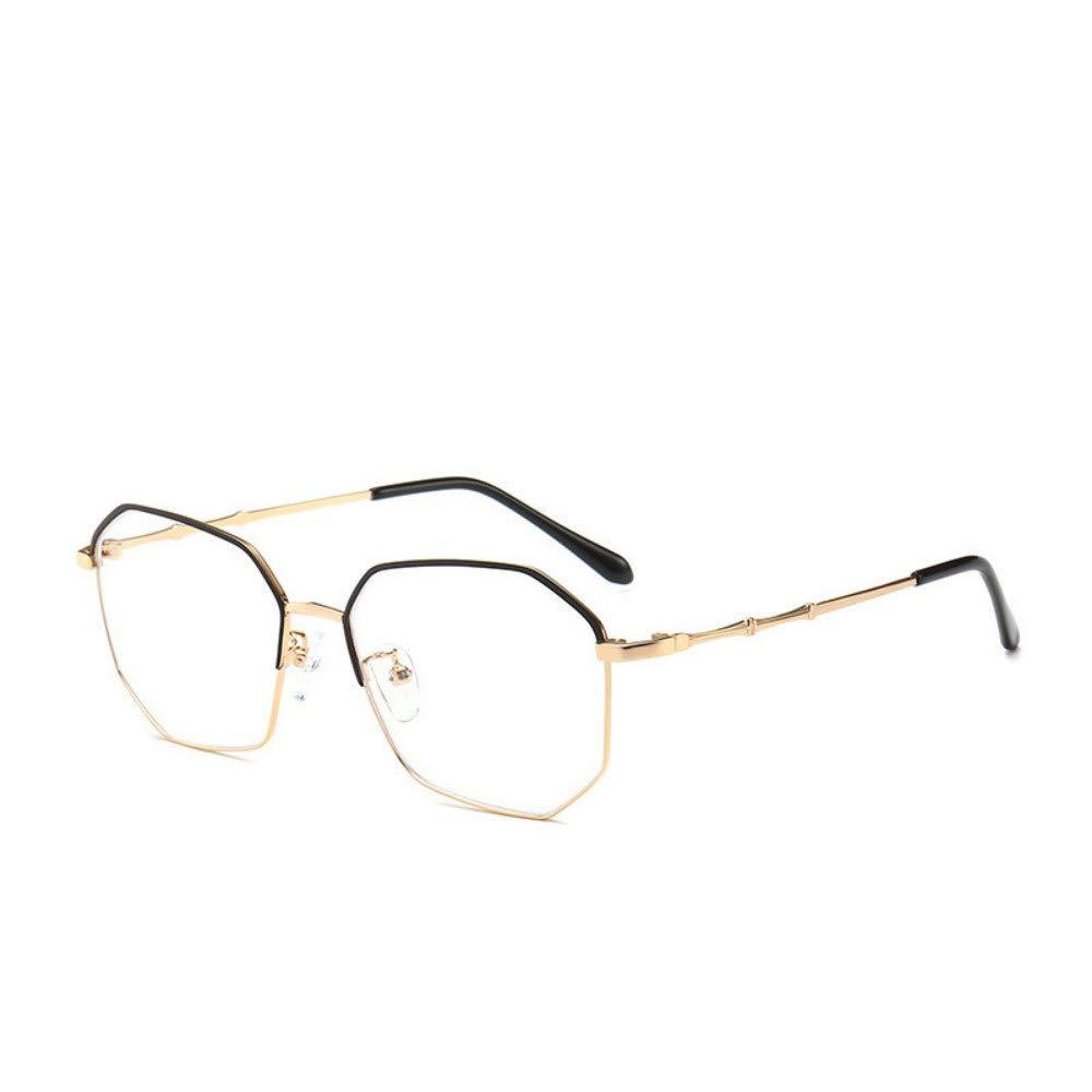 Anti-Blu-ray glasses flat mirror optical mirror oval frame literary retro personality no degree golden