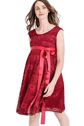 Hello MIZ Floral Lace Baby Shower Party Cocktail Dress with Satin Waist Maternity Dress (X-Large, Burgundy)