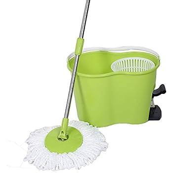 Goplus Microfiber Spinning Mop Easy Floor Mop W/ Bucket and 2 Head 360° Rotating (Green)