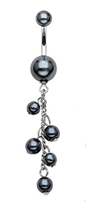 Amazon Com Black Imitation Pearl Belly Button Ring 14g Imitation