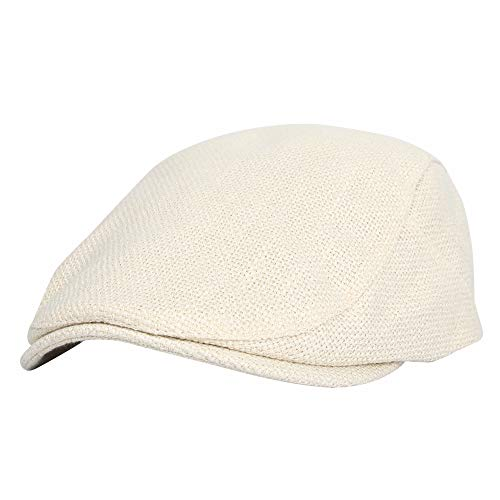 (WITHMOONS Irish Hat Golf Cap Straw Weave Paperboy Hat Cotton MZ30038 (Ivory) )