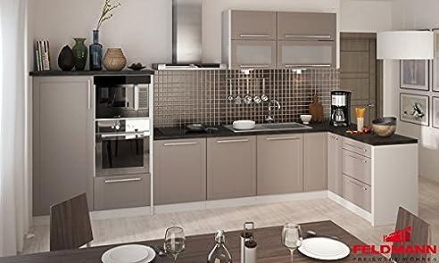 Küchenzeile Küche L-Form 330 X 150Cm 16902 Grau / Beige Matt