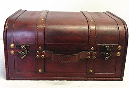 Faux Leather Decorative Wooden Storage Trunk (HF 008C 1)