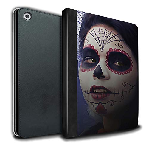 STUFF4 PU Leather Book/Cover Case for Apple iPad 9.7 (2017) Tablets/Halloween Makeup Design/Day of The Dead Festival Collection]()
