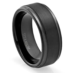 8MM Comfort Fit Titanium Wedding Band | Engagement Ring with Black Plated and Brushed Top finish | Grooved Polished Edges