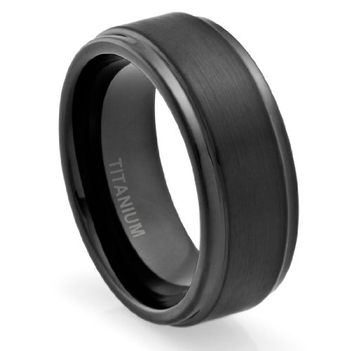 - 8MM Comfort Fit Titanium Wedding Band | Engagement Ring with Black Plated and Brushed Top finish | Grooved Polished Edges (8)
