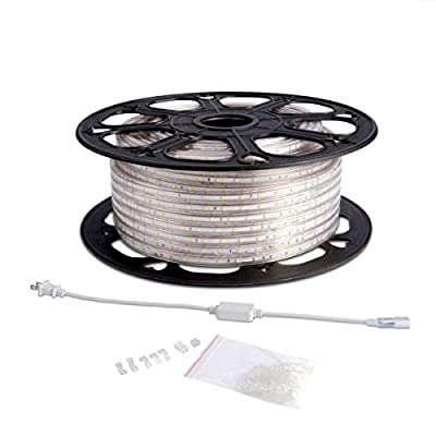 LE® 110-120 V AC 164ft Flexible LED Strip Lights, 3000K Warm White, 3000 Units 3528 SMD LEDs, 300lm/m, Waterproof IP65, Accessories Included, LED Rope Lights, LED Tape, Pack of 164ft/50m