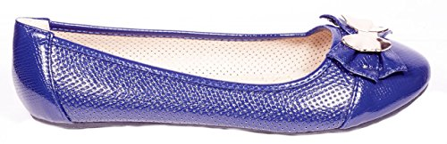 ONE Women Ballerina Flats Shoes, Bow & Buckles Accents, B-2045, Navy, 8 by ONE (Image #1)