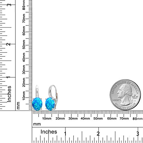 Gem Stone King 1.70 Ct Oval Cabochon Blue Simulated Opal 925 Sterling Silver Earrings