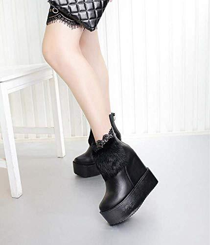 Tacón Mujer Tamaño Botines Felpa 34 Ronda Black Purfle Roma 6cm Boda 14cm Cuña Plataforma De 40 Toe Zapatos Tobillos Encaje Ue wqtTq0