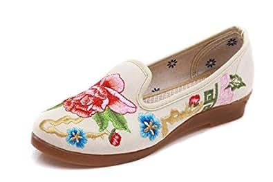 bc9a1ca0 Bordado Zapatos/Alpargatas/ Merceditas/Un par de Zapatos para Caminar,  Zapatos de Mujer, Zapatos de Tela, Zapatos cómodos de Fondo Suave.