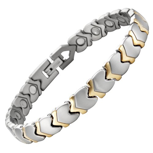 Willis Judd New Brand New Two Tone Womens Titanium Magnetic Bracelet In Velvet Box with Free Link Removal Tool
