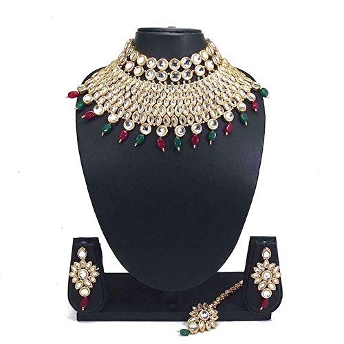 (CROWN JEWEL Bollywood Indian Wedding Pearl Kundan Gold Plated Jewelry Bridal Necklace Earring Set for Women (Green Maroon))