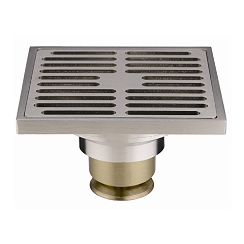 PHASAT Contemporary 4 inches Square Brushed Nickel Finish Brass Floor Drain with Removable Strainer 80301N