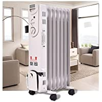 Apontus 1500W Electric Oil Filled Radiator Space Heater 5-Fin Thermostat Room Radiant