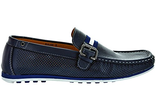 MARJOO MODA ITALY Men's Fashion Driving Casual Loafers Boat shoes NAVY SIZE 13 (Men Casual Loafers)