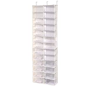 Wander Agio 26 Large Pockets Receiving Over the Door Shoes Organizer Hanging Bags Clear White