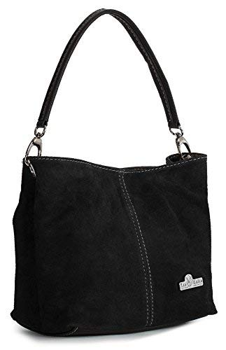 LIATALIA Womens Mini Real Italian Suede Leather Single Strap Hobo Slouch Bag - DEMI [ Black ]