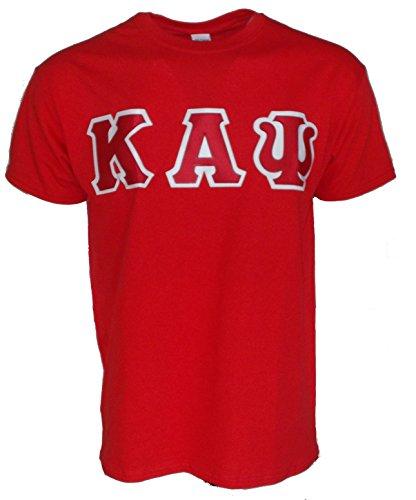 Mega_Greek Mens Kappa Alpha Psi Letter T-Shirt (X-Large, Red) -