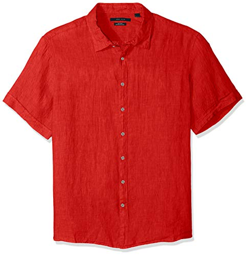 Perry Ellis Men's Short Sleeve Solid Linen Shirt, Haute red/DHW, Small