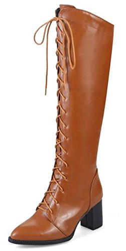 IDIFU Womens Comfy Mid Chunky Heels Lace Up Side Zipper Knee High Riding Boots Brown