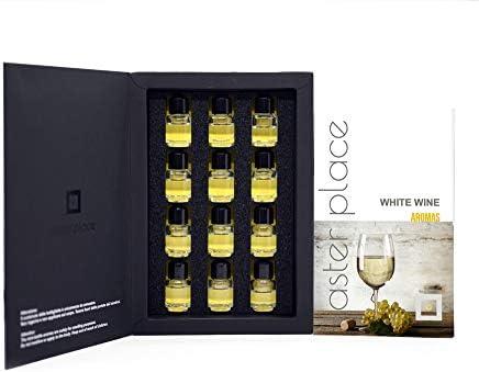 TASTERPLACE Set de aromas de vino blanco - versión en inglés - para sommeliers - para amantes del vino - herramienta de degustación