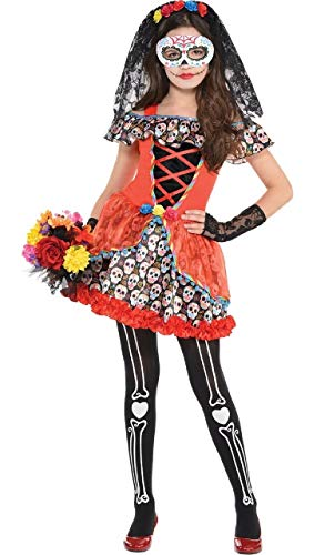 Girls Teens Colourful Bright Sugar Skull Senorita Mexican Festival Halloween 5 Piece Fancy Dress Costume Outfit 8-16 Years (12-14 Years)]()