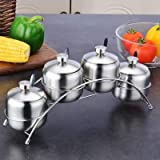 Autumn Water Kitchen Supplies Apple Shape Stainless Steel Condiment Pot Spice Container Salt Sugar Bowl Serving Jars Pot Spoons Set