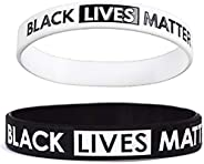 LAIRIES 2-Pack Black Lives Matter Silicone Rubber Stretch Bracelets BLM Wristbands Gifts for Men Ladies Teens