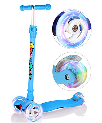 OUTON Kick Scooter for Kids 3 Wheel Lean to Steer Adjustable Height Extra Wide Flashing PU Wheels...