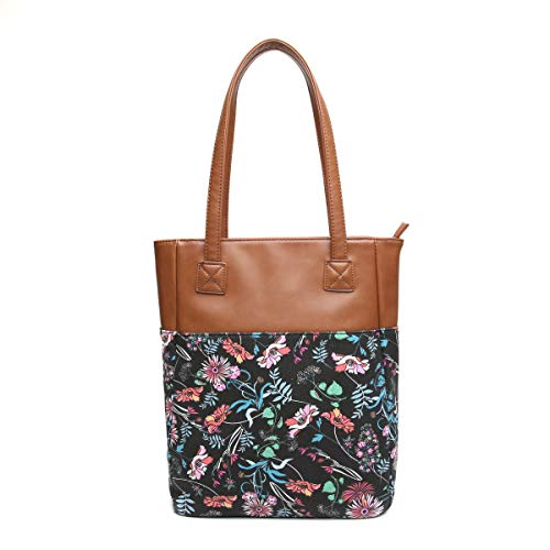- Aitbags Canvas Tote Bag for Women PU Leather Floral Purse and Handbag Shopping Bag Work Satchel