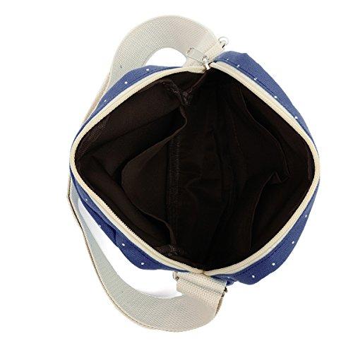 Ensemble 2pcs Portefeuille Noir à Sac dos en bleu 3PCS bandoulière Foncé à OURBAG toile Sacs 2PCS femme décontracté pour Moyen 4TvwwqZz
