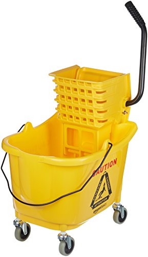 AmazonBasics Side Press Wringer Combo Commercial Mop Bucket on Wheels, 35 Quart, Yellow (International Ringer)