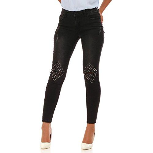 et Niveau Modeuse Jeans dlav Genoux La Slim des lgrement Noir clout au wUXRBqOx