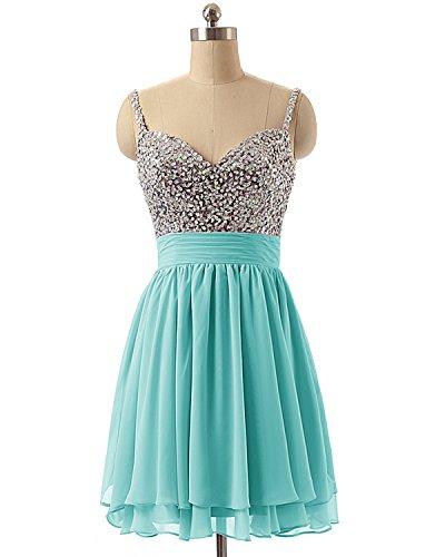 LuckyShe Abendkleider Damen Cocktailkleider Kurz Ballkleid Pailletten Festkleider Blaugrün Elegant rwrf1qAWg