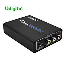Udigital HDMI to Composite 3RCA AV S-Video R/L Audio Vdieo Converter Adapter Upscaler Support 720P/1080P with RCA/S-video Cable for PC Laptop Xbox PS3 TV STB VHS VCR Camera Blue-Ray DVD