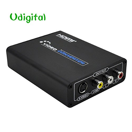 - Udigital HDMI to 3RCA AV Composite R/L Audio Video Converter Adapter Upscaler Support 720P/1080P with RCA/S-Video Cable