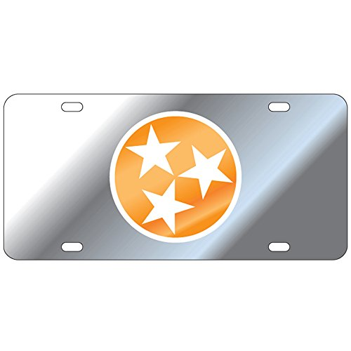 (Tennessee Volunteers Mirror Tri-Star Laser Cut License Plate)