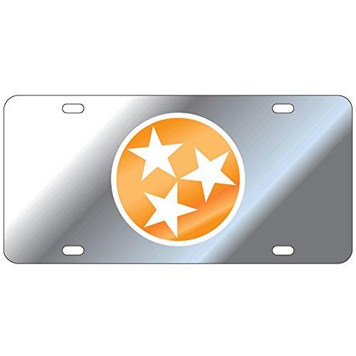 Craftique Tennessee Volunteers Mirror Tri-Star Laser Cut License Plate