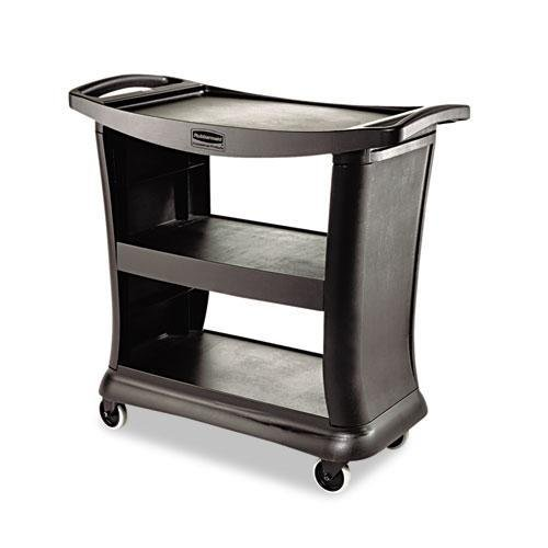 RUBBERMAIDCOMMERCIAL 9T6800BK Executive Service Cart, Three-Shelf, 20-1/3w x 38-9/10d, Black
