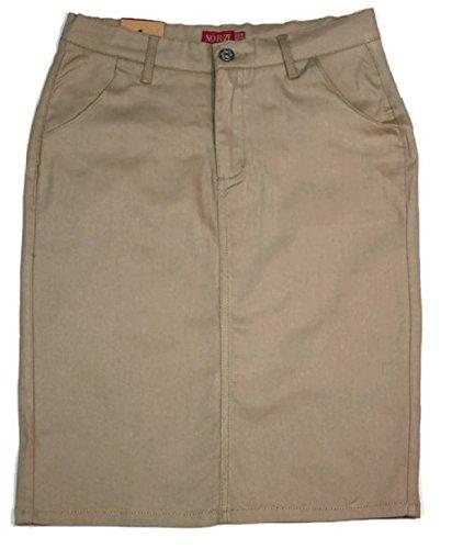 No Fuze Juniors Teens Basic Skirt High Waist School Uniform Knee High-Khaki-9/10