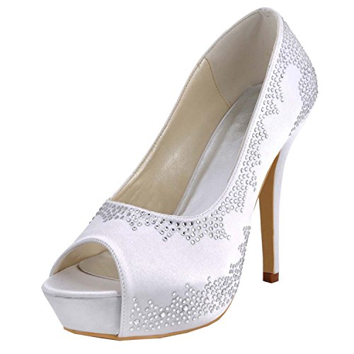 Minitoo tendance Chaussures mariage de Heel 12cm femme White S1Uq1
