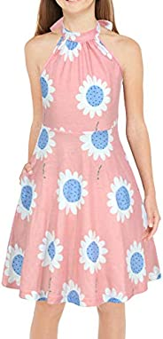 GORLYA Girl's Halter Neck Cold Shoulder Sleeveless Summer Casual Sundress A-line Dress with Pockets for 4-