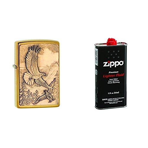 Zippo 20854 Where Eagles Dare Brushed Brass Pocket Lighter with 12 oz Lighter ()