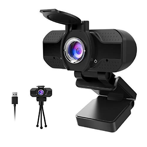 🥇 Webcam 1080P Full HD con Micrófono Y cubierta de privacidad,1080P webcame USB Web Camera Con trípode