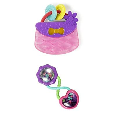 Bright Starts Pretty in Pink Carry Teethe Purse & Bright Starts Rattle and Shake Barbell Rattle, Pretty in Pink : Baby