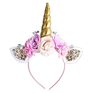 Unicorn Headband Gold Horn for Unicorn Party Supplies Flowers Cat Ear Head Bands by Ahier