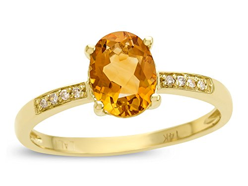 - LALI Classics 14k Yellow Gold Citrine Oval Ring Size 7